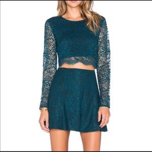 Lovers + Friends Lace Skirt Set. SMALL Teal